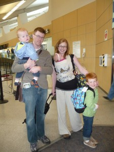 Five redheads ready to board the airplane